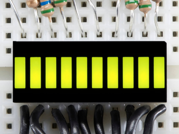Adafruit - 10 Segment Işık Çubuğu Grafik LED Ekran - Sarı-Yeşil