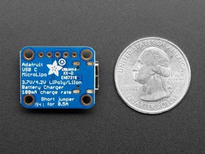 Adafruit Mikro-Lipo Şarj Cihazı için LiPoly Batt ve USB Type C Jack