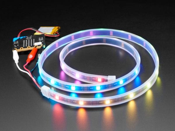 Adafruit - Adafruit NeoPixel LED Şerit, Timsah Klipsli - 30 LED/1 Metre - Siyah