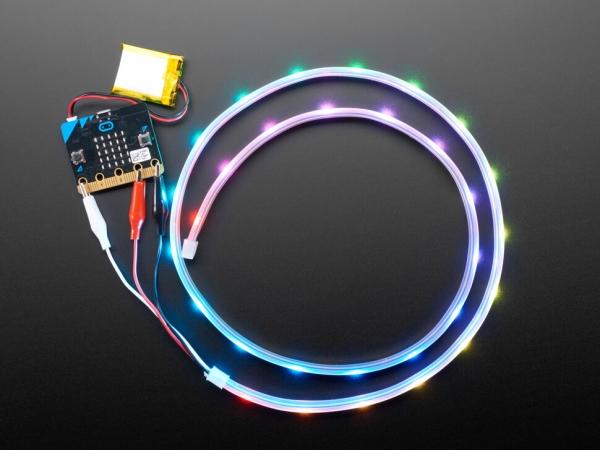 Adafruit NeoPixel LED Şerit, Timsah Klipsli - 30 LED/1 Metre - Siyah - Thumbnail