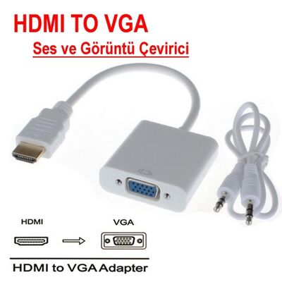 HDMI - VGA + Ses Dönüştürücü