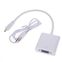 Mi̇cro Hdmi̇ To Vga Kablo Çevi̇ri̇ci̇ Dönüştürücü + Ses - Thumbnail