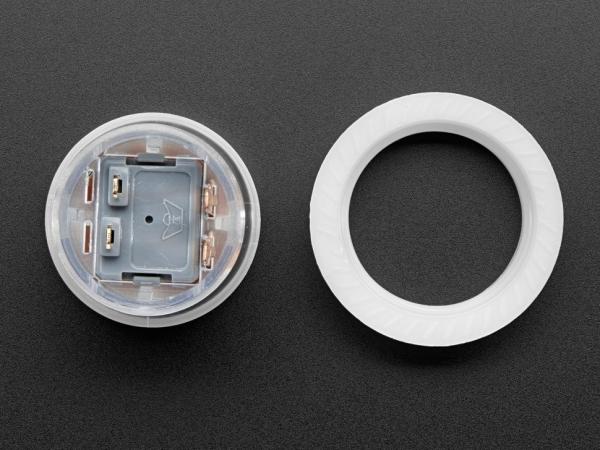 Mini LED Arcade Düğmesi - 24mm Yarı Saydam Şeffaf - Thumbnail