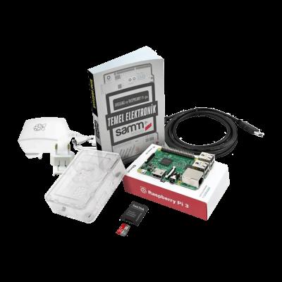 Raspberry Pi 3 Şeffaf Kutu Mini Kit + Temel Elektronik Kitabı