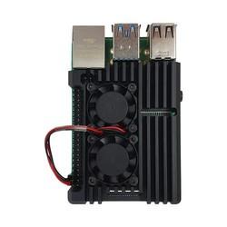 Raspberry Pi 4 Çift Fanlı Alüminyum Kasa Soğutucu - Thumbnail