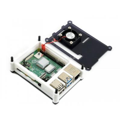 Raspberry Pi 4 Fanlı Muhafaza Kutusu Siyah/Beyaz Akrilik