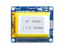 Waveshare - Raspberry Pi Li-polimer Pil HAT, 5V Çıkış, Hızlı Şarj ( Pilsiz )