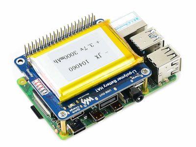 Raspberry Pi Li-polimer Pil HAT, 5V Çıkış, Hızlı Şarj ( Pilsiz )